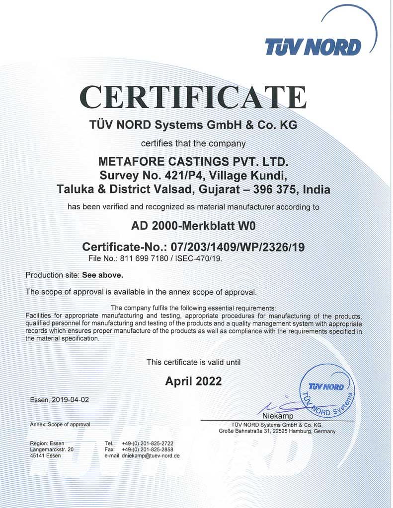 AD 2000 Merkblatt W0 & PED 2014 Certification